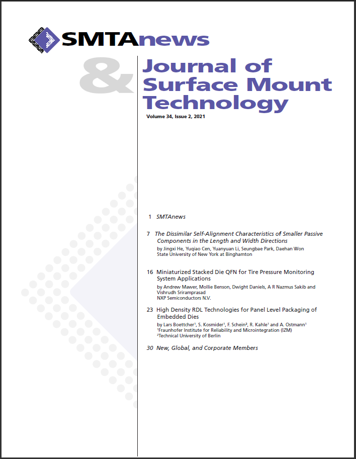 View Vol. 34 No. 2 (2021): Journal of Surface Mount Technology